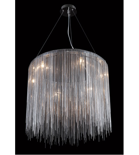 Fountain Ave Led 24 Inch Chrome Chain Hanging Chandelier Ceiling Light