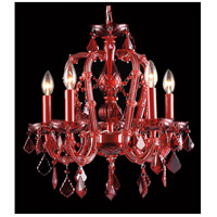Avenue Lighting Crimson Blvd. 5 Light Mini Chandelier in Red with Red Crystal HF1037-RED