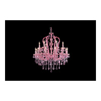 Sunset Pl 18 Light 34 inch Pink Crystal Chandelier Ceiling Light