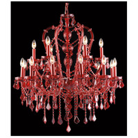 Crimson Blvd 18 Light 34 inch Red Crystal Hanging Chandelier Ceiling Light