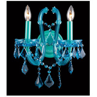 Ocean Drive 2 Light 12 inch Aqua Blue Crystal Wall Sconce Wall Light