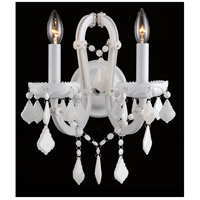 Casablanca Way 2 Light 12 inch White Crystal Wall Sconce Wall Light