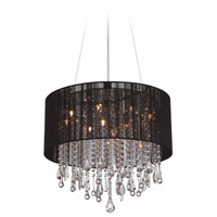 Beverly Drive 12 Light 32 inch Black Silk String Chandelier Ceiling Light, Convertible to Flush Mount