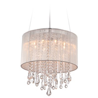 Avenue Lighting HF1501-SLV Beverly Dr 8 Light 16 inch Silver Silk String Flush Mount Ceiling Light, Convertible to Hanging