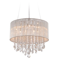 Beverly Dr 12 Light 20 inch Silver Silk String Flush Mount Ceiling Light, Convertible to Hanging