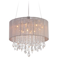 Avenue Lighting HF1502-TP Beverly Dr 12 Light 20 inch Taupe Silk String Flush Mount Ceiling Light, Convertible to Hanging