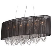 Avenue Lighting HF1503-BLK Beverly Dr 6 Light 40 inch Black Silk String Flush Mount Ceiling Light, Convertible to Hanging