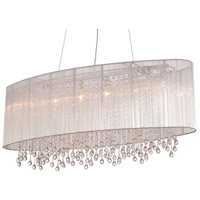 Beverly Drive 6 Light 40 inch Silver Silk String Chandelier Ceiling Light, Convertible to Flush Mount
