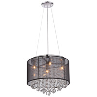 Riverside Dr 4 Light 17 inch Black Organza Silk Chandelier Ceiling Light, Convertible to Flush Mount