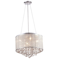 Avenue Lighting HF1504-SLV Riverside Dr 4 Light 17 inch Silver Organza Silk Flush Mount Ceiling Light, Convertible to Hanging