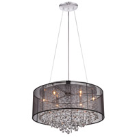Avenue Lighting HF1505-BLK Riverside Dr 6 Light 24 inch Black Organza Silk Flush Mount Ceiling Light, Convertible to Hanging