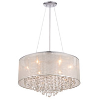 Avenue Lighting HF1505-SLV Riverside Dr 6 Light 24 inch Silver Organza Silk Flush Mount Ceiling Light, Convertible to Hanging