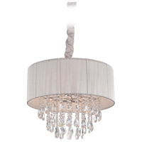 Avenue Lighting Vineland Avenue 6 Light Pendant with Silver Lined Silk String Shade and Crystal HF1506-SLV