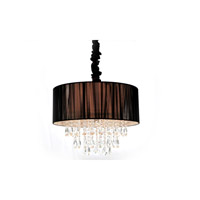 Avenue Lighting Vineland Avenue 6 Light Pendant with Black Lined Silk String Shade and Crystal HF1506-BLK