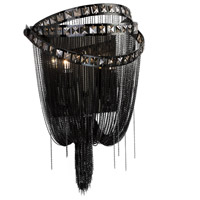 Avenue Lighting Wilshire Drive 2 Light Wall Sconce in Black Chrome with Smoke Crystal HF1607-BLK