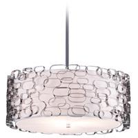 Avenue Lighting Ventura Blvd. 4 Light Pendant in Polish Nickel with Ivory Silk Shade HF1702-PN