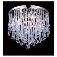 Avenue Lighting Hollywood Blvd. 5 Light Flush Mount in Polish Nickel with Clear Glass Tear Drops HF1803-PN