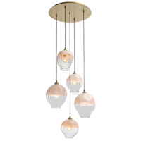 Avenue Lighting HF8145-BB-WH Sonoma Ave. 5 Light 28 inch Brushed Brass Pendant Cluster Ceiling Light