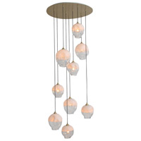 Avenue Lighting HF8149-BB-WH Sonoma Ave. 9 Light 37 inch Brushed Brass Pendant Cluster Ceiling Light