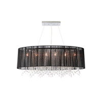Avenue Lighting Beverly Drive 6 Light Dual Ceiling Mount with Oval Black Silk String Shade and Crystal HF1503-BLK