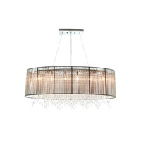 Avenue Lighting Beverly Drive 6 Light Dual Ceiling Mount with Oval Taupe Silk String Shade and Crystal HF1503-TP