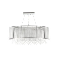 Avenue Lighting Beverly Drive 6 Light Dual Ceiling Mount with Oval White Silk String Shade and Crystal HF1503-WHT
