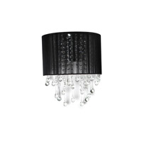Avenue Lighting Beverly Drive 2 Light Wall Sconce with Black Silk String Shade and Crystal HF1511-BLK
