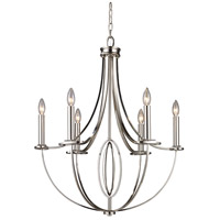 Bowery + Grove 55792-PN Goforth 6 Light 25 inch Polished Nickel Chandelier Ceiling Light