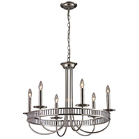 Bowery + Grove 50113-PC Nina 6 Light 29 inch Polished Chrome and White and Orange Chandelier Ceiling Light