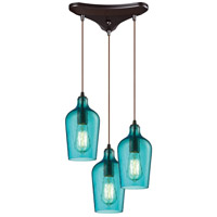 Bowery + Grove 50119-ORHA Georgetown 3 Light 10 inch Oil Rubbed Bronze Mini Pendant Ceiling Light in Hammered Aqua Glass Triangular Canopy