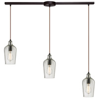 Bowery + Grove 50121-ORHC Georgetown 3 Light 5 inch Oil Rubbed Bronze Mini Pendant Ceiling Light in Hammered Clear Glass Linear with Recessed