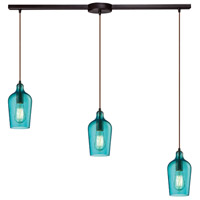 Bowery + Grove 50123-ORHA Georgetown 3 Light 5 inch Oil Rubbed Bronze Mini Pendant Ceiling Light in Hammered Aqua Glass Linear with Recessed Adapter