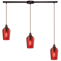 Bowery + Grove 50124-ORHR Georgetown 3 Light 5 inch Oil Rubbed Bronze Mini Pendant Ceiling Light in Hammered Red Glass Linear with Recessed Adapter