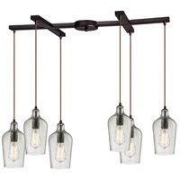 Bowery + Grove 50125-ORHC Georgetown 6 Light 17 inch Oil Rubbed Bronze Mini Pendant Ceiling Light in Hammered Clear Glass Light Bar H-Bar