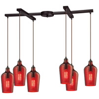 Bowery + Grove 50127-ORHR Georgetown 6 Light 17 inch Oil Rubbed Bronze Mini Pendant Ceiling Light in Hammered Red Glass Light Bar H-Bar