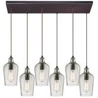 Bowery + Grove 50128-ORHC Georgetown 6 Light 9 inch Oil Rubbed Bronze Mini Pendant Ceiling Light in Hammered Clear Glass Rectangular Canopy