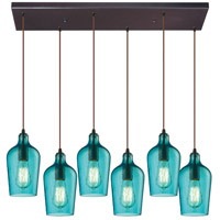 Bowery + Grove 50130-ORHA Georgetown 6 Light 9 inch Oil Rubbed Bronze Mini Pendant Ceiling Light in Hammered Aqua Glass Rectangular Canopy