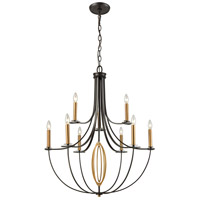 Bowery + Grove 56093-BA Goforth 9 Light 32 inch Brushed Antique Brass/Oil Rubbed Bronze Chandelier Ceiling Light