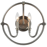 Bowery + Grove 56196-BN Burke 2 Light 15 inch Brushed Nickel with Weathered Zinc Sconce Wall Light