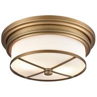 Bowery + Grove 50057-CBW Glasgow Pl 2 Light 13 inch Classic Brass Flush Mount Ceiling Light