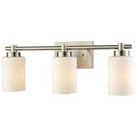 Bowery + Grove 51182-SNCW Baird 3 Light 27 inch Satin Nickel Vanity Light Wall Light Cream White Glass