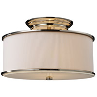 Bowery + Grove 50178-PNO Greenwood Ave 2 Light 15 inch Polished Nickel Semi Flush Mount Ceiling Light in Incandescent