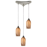 Bowery + Grove 50088-SNSS Arcola Ave 3 Light 10 inch Satin Nickel Mini Pendant Ceiling Light in Incandescent Triangular Canopy Triangular