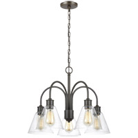Bowery + Grove 52459-HBCS Passive 5 Light 25 inch Heirloom Bronze Chandelier Ceiling Light