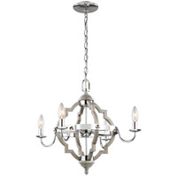 Bowery + Grove 53415-WPL Bastrop LED 22 inch Washed Pine Chandelier Ceiling Light