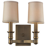 Bowery + Grove 56525-BA Albany 2 Light 12 inch Brushed Antique Brass Sconce Wall Light