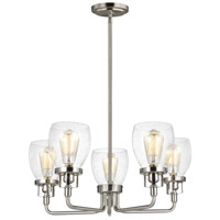 Bowery + Grove 53392-BNCS Luca 5 Light 24 inch Brushed Nickel Chandelier Ceiling Light