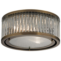 Bowery + Grove 50204-AB Gallarate 2 Light 12 inch Aged Brass Flush Mount Ceiling Light