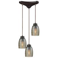 Bowery + Grove 50210-ORCS Blooming Grove 3 Light 10 inch Oil Rubbed Bronze Mini Pendant Ceiling Light in Triangular Canopy Triangular