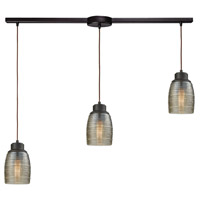 Bowery + Grove 50211-ORCS Blooming Grove 3 Light 36 inch Oil Rubbed Bronze Mini Pendant Ceiling Light in Linear with Recessed Adapter Linear